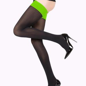Black tights, stockings with neon green band